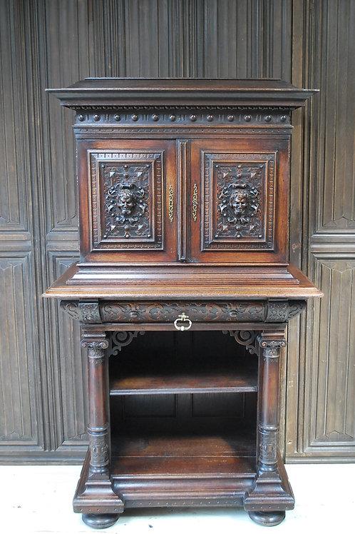 Antique Italian Oak Renaissance Revival Collectors Cabinet On Stand