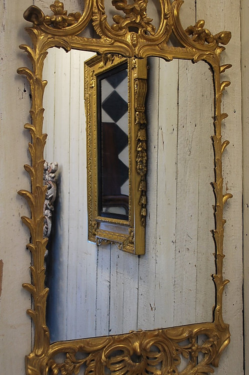 Antique Irish Giltwood Overmantle Wall Mirror