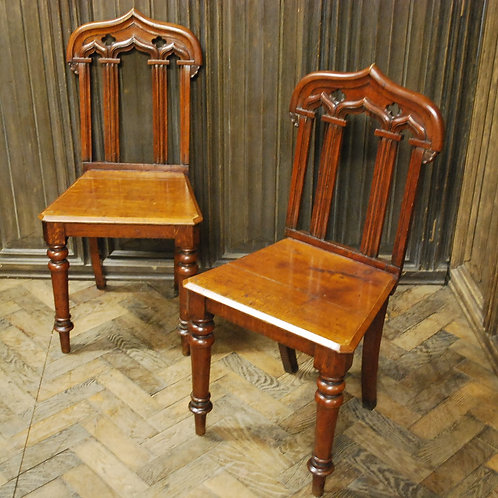 Pair of Gothic oak hall chairs