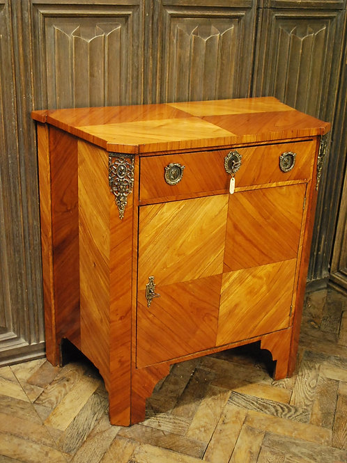 Rare English tulipwood commode/side cabinet