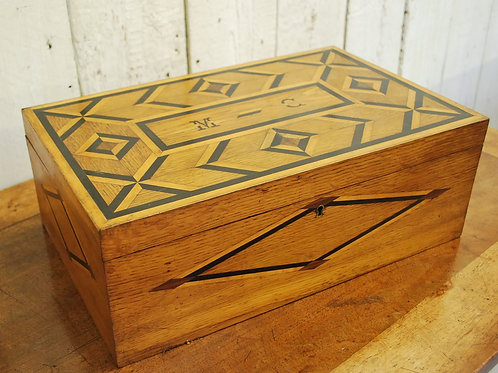 French parquetry inlaid oak and ebony box