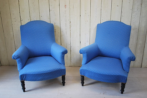 Pair of Upholstered Armchairs/ Fauteuils