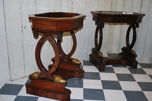 Pair of French Rosewood Empire Style Jardinieres/ Pair Tables
