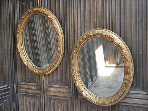 Pair of Gilt French Oval Mirrors