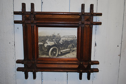 Antique motoring photograph in frame