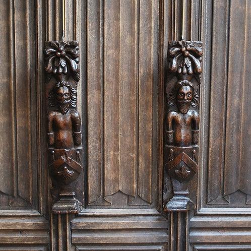 Pair of Antique Oak Armorial Caryatides