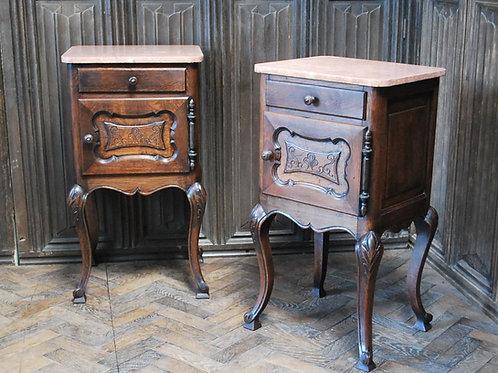 Pair of Substantial Oak Bedside Cabinets