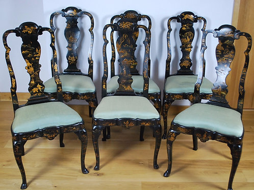 Set of six Japanned /lacquered chairs
