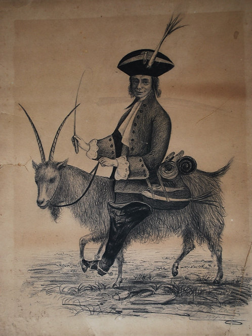 Drawing  of Gentleman Riding a Goat by John Marshall