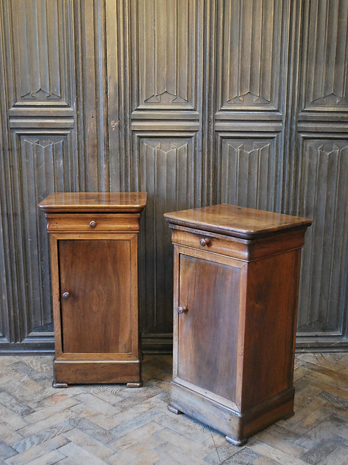 Pair of French Walnut Bedside Cabinets/ Nightstands