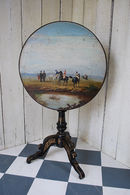 Antique painted French tripod table with horse racing scene