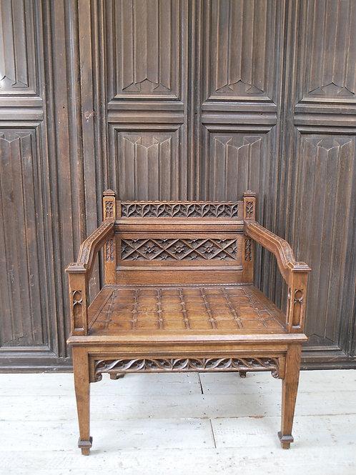 Gothic Oak Throne Armchair