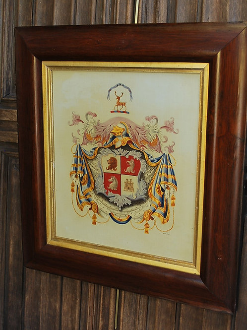 Painted Armorial Crest On Canvas