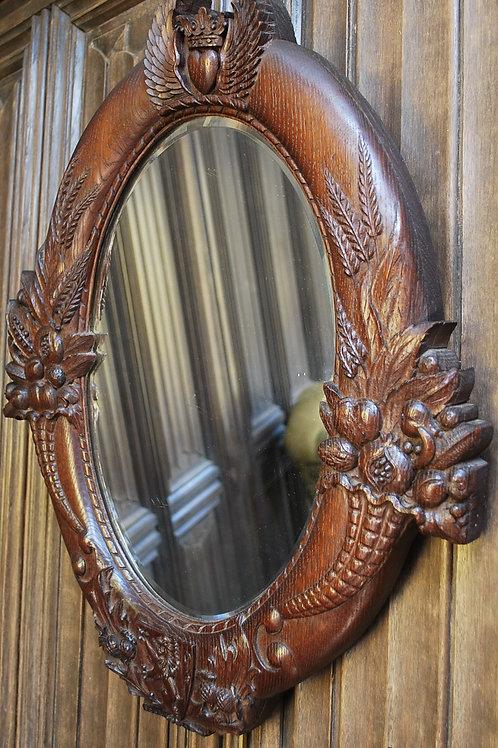 Rare Scottish Armorial Oak Wall Mirror
