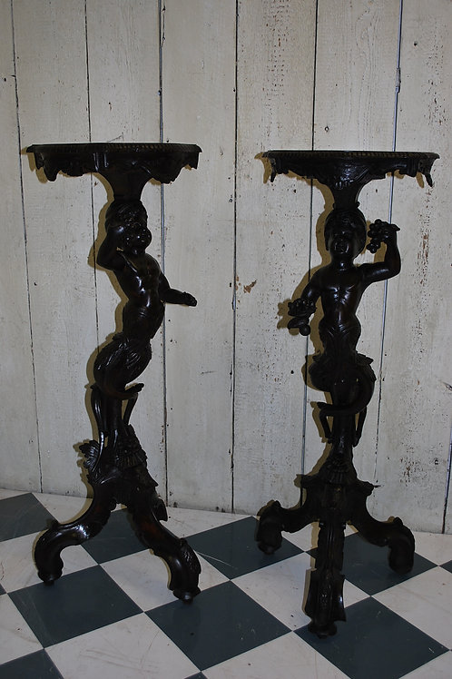 Pair of Carved Wood Venetian Candle Stands/ Torcheres