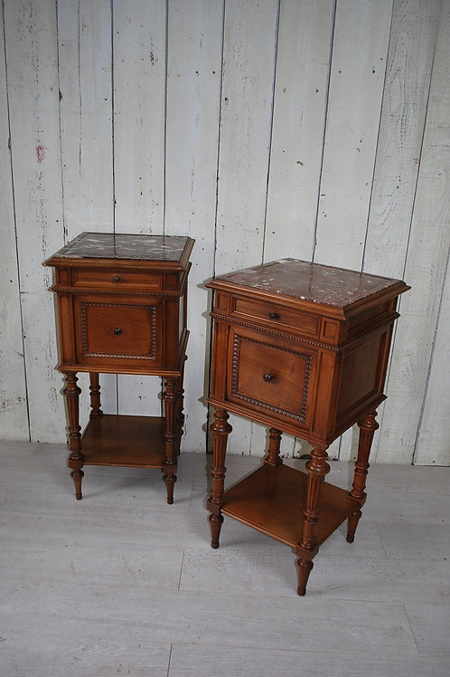 Pair of French Walnut Bedside Cabinets/ Nightsands