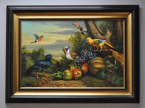 Still life with birds and fruits by Jakob Bogdani