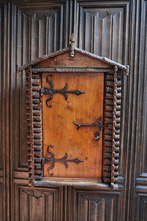 Antique Rustic Swiss Log Cabin Hanging Cupboard