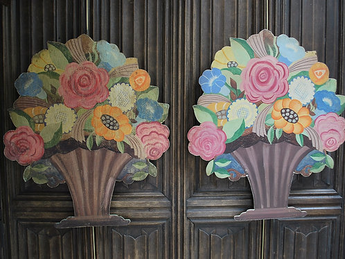 A Pair of Painted Flower Basket Dummy Boards