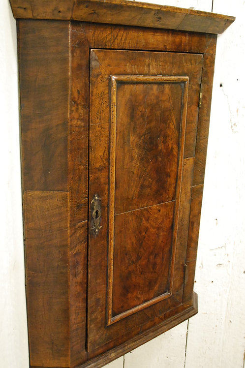 Small George I Walnut Corner Cupboard