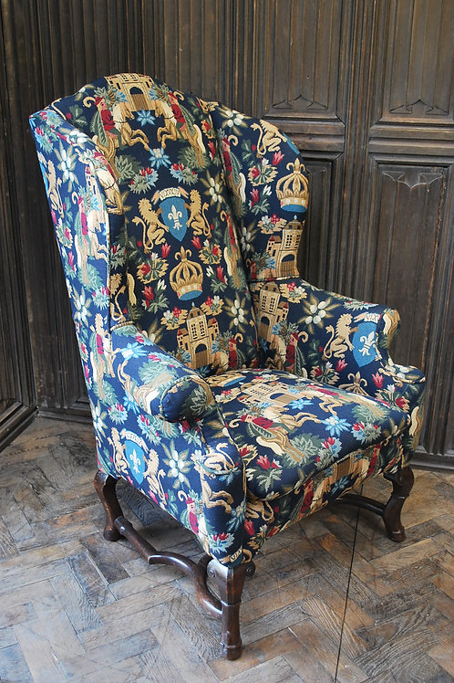 Queen Anne style tall back walnut wing chair