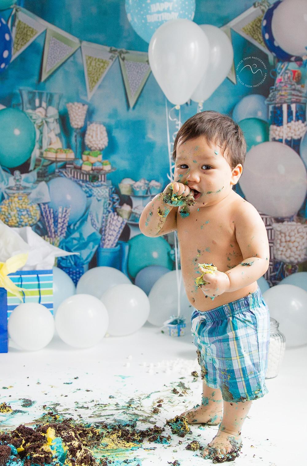 Cake Smash baby boy Patricia Thom Photography Aberdeenshire