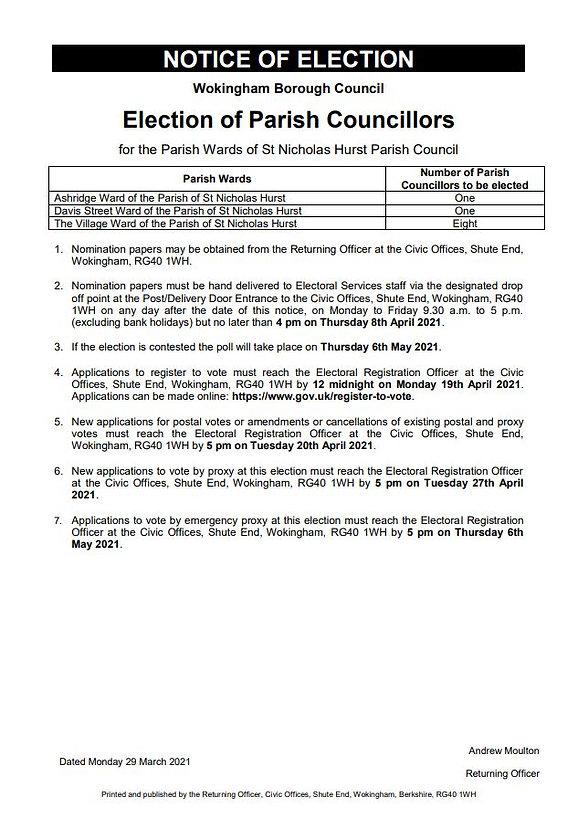 Notice of Election Parish Councillor May