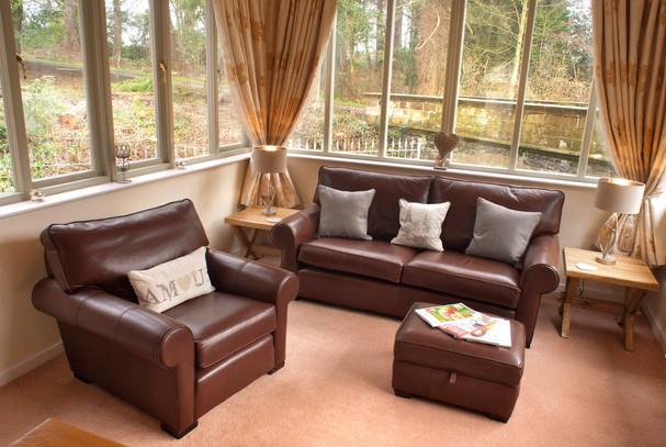 Living area with wrap around windows