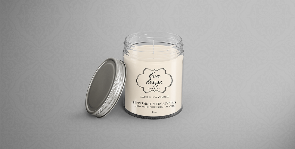 Pure Peppermint and Eucalyptus Essential Oil Candle