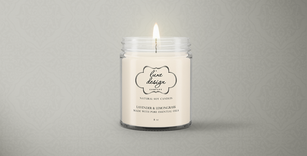 Pure Lavender and Lemongrass Essential Oil Candle