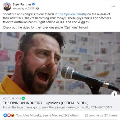Steel Panther publicly endorse TOI via Facebook