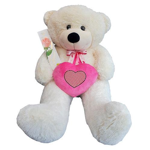 Oso Blanco con Corazón Rosa 1, 3 metros +  Bombones