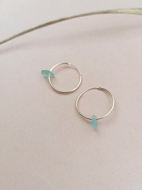 Alonnisos Collection - Light Aqua Small Gold Hooped Earrings