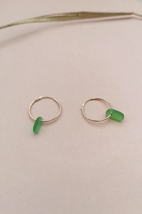 Brighton Collection - Emerald Green Small Gold Hooped Earrings