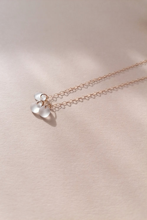 Skopelos Collection -Tiny White Nugget Charm Necklace