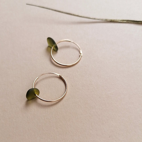 Skopelos Collection- Khaki Small Gold Hooped Earrings