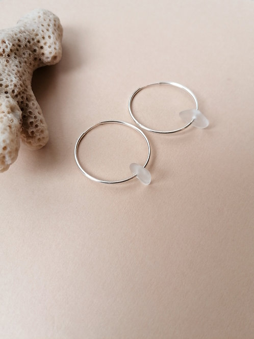 Skiathos Collection - White Hooped Earrings