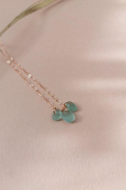 Skopelos Collection - Tiny Aqua Nugget Charm Necklace