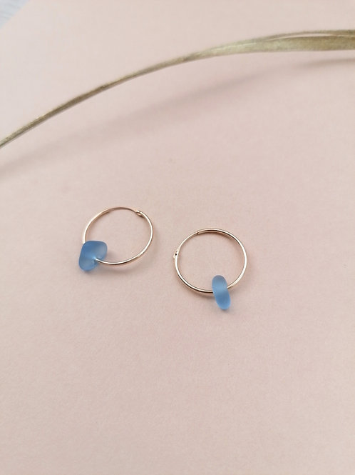 Alonnisos Collection - Cornflower Blue Small Gold Hooped Earrings