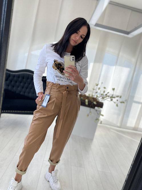Spodnie Imogen Faux Leather Brown