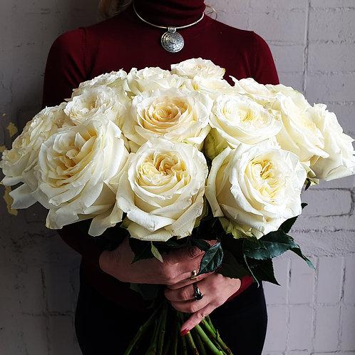 Моно-букет из белых роз