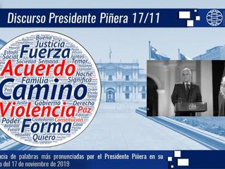 Presidente Piñera habló a casi un mes del estallido social