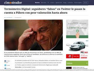 "#TermómetroDigital: seguidores ""falsos"" en Twitter le pasan la cuenta a Piñera con peor valoración h"