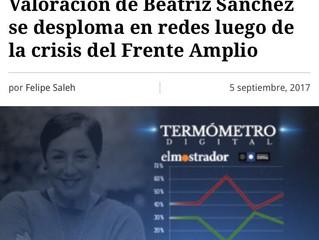 #TermometroDigital: Valoración de Beatriz Sánchez se desploma en redes luego de la crisis del Frente
