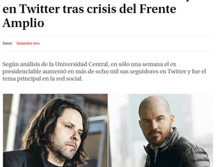 "La Tercera I ""Estudio revela arremetida de Mayol en Twitter tras crisis del Frente Amplio"""