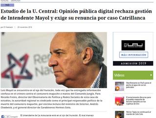 El Mostrador | Estudio de la U. Central: Opinión pública digital rechaza gestión de Intendente Mayol