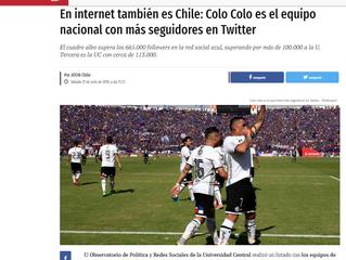 Publimetro I En internet también es Chile: Colo Colo es el equipo nacional con más seguidores en Twi