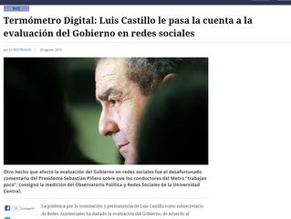 El Mostrador | Termómetro Digital: Luis Castillo le pasa la cuenta a la evaluación del Gobierno en r