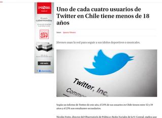 La Tercera I Uno de cada cuatro usuarios de Twitter en Chile tiene menos de 18 años