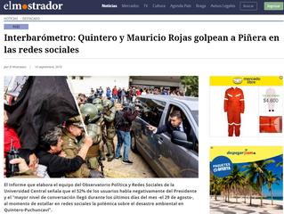 El Mostrador | Interbarómetro: Quintero y Mauricio Rojas golpean a Piñera en las redes sociales